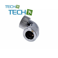 Alphacool HT 16mm HardTube compression fitting 90° L-connector- knurled - chrome