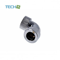 Alphacool HT 16mm HardTube compression fitting 90° L-connector for plexi- brass (rigid or hard) tubes - knurled - chrome