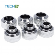 Alphacool Eiszapfen 13mm HardTube compression fitting G1/4  - knurled - chrome sixpack