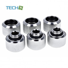 Alphacool Eiszapfen 16mm HardTube compression fitting G1/4 - knurled - chrome sixpack