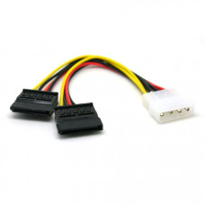 IDMO4T2x2 - 4 PIN IDE/Molex To 2 X 15 Pin SATA Power Adapter cable
