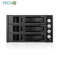 "iStarUSA BPU-230SATA - 2x5.25"" to 3x3.5"" SAS/SATA 6.0 Gb/s Hot-Swap Cage (Black)"