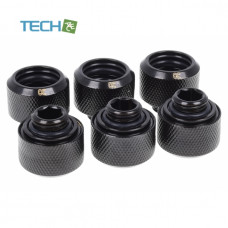 Alphacool Eiszapfen 16mm HardTube compression fitting G1/4 - knurled - deep black sixpack