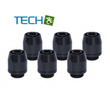 Alphacool HF compression fitting TPV Metall - 12,7/7,6mm straight - black - 6pcs kit(Soft tube)